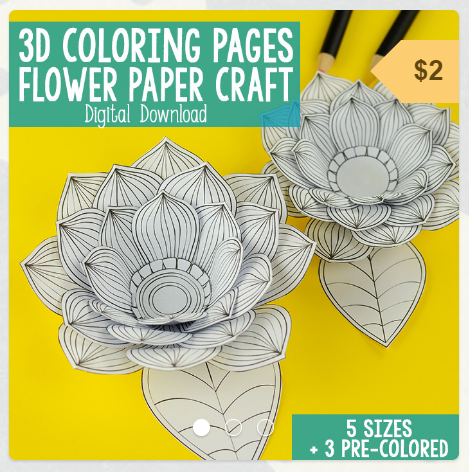 3D Coloring Pages Flower Paper Craft